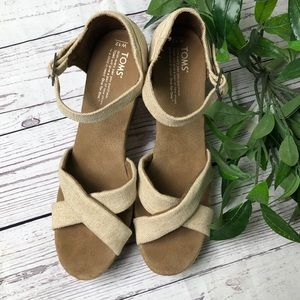 Toms cross strap canvas wedges